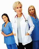 Confident mature doctor with female colleagues