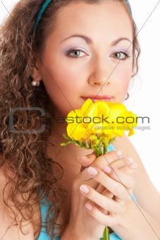 Woman with freesia