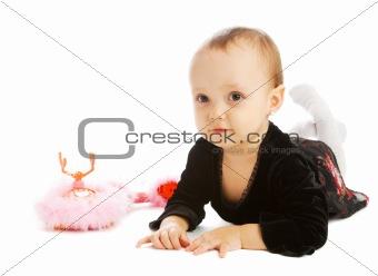 Baby near phone set