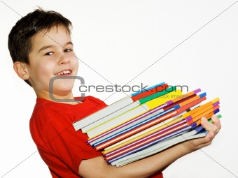 Boy carrying books