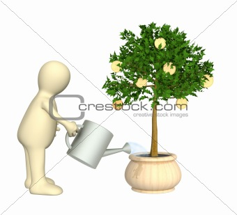 3d puppet, watering monetary tree