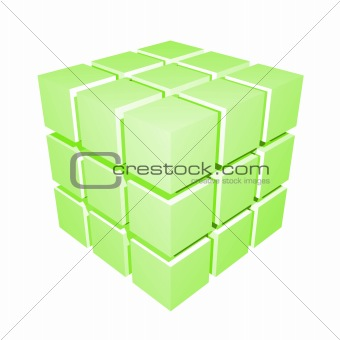 3D Cube Green