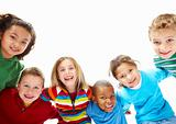 Portrait of children in playful mood bending over white background