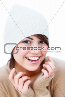 Portrait of smilign young female agaist white background