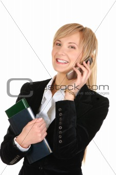 business woman calling by phone.