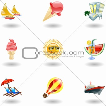 Shiny summer icons