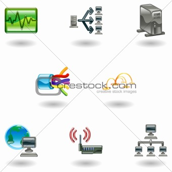 Glossy Computer Network Icon Set