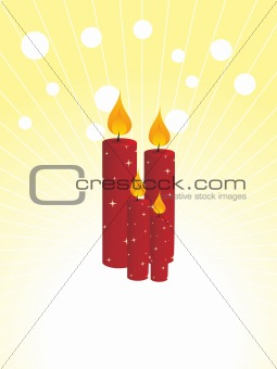 four red burning candles vector illustration