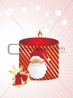 santa style candle with bells, background