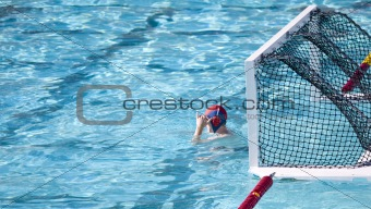 Waterpolo goalie at the ready