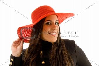 beautiful model wearing hat