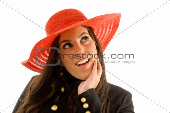 close up of smiling female wearing hat