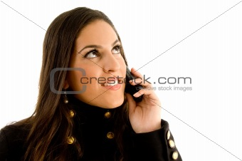 close up of beautiful model talking on phone