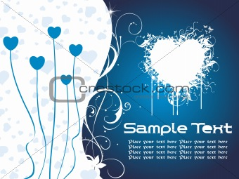 blue heart-shape valentine text