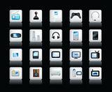 electronic icons on black