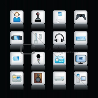 detailed entertainment icons on black