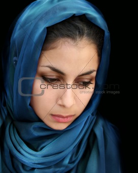 Arab girl in blue scarf