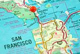 Map of San Francisco with Golden Gate Bridge Focused