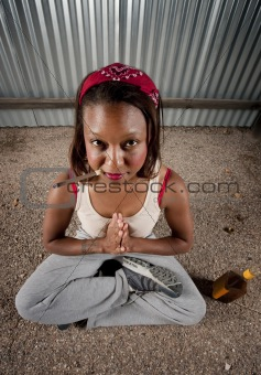 Cigar smoking and drinking woman meditating
