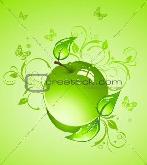Green apple, vector illustration