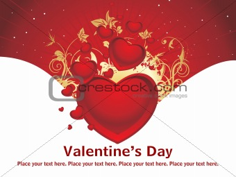 beautiful design with red love background