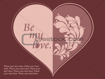 a choclate color heart-shape card