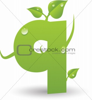 one vector letter from a green floral alphabet
