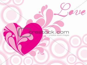 abstract swirl design valentine card