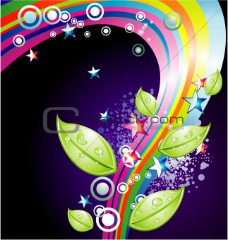 Absrtact Rainbow Stars Background
