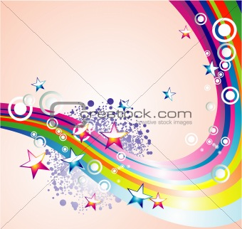 Absrtact Rainbow Stars Background