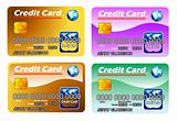 Four Credit cards with chip. fully editable