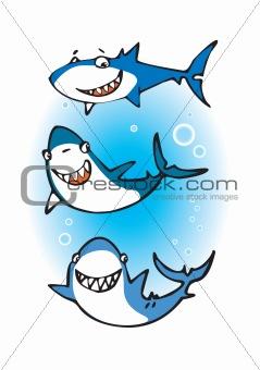Three happy sharks