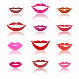 Smiles, lips icons on white