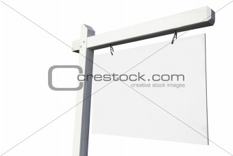 Blank White Real Estate Sign Ready for Your Own Message.