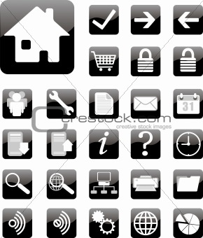 black website and internet icon