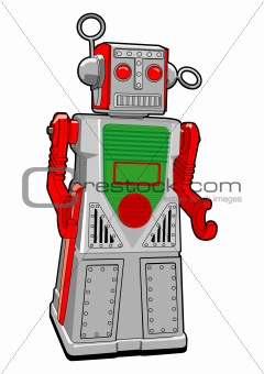 Tin Toy Robot in Vector
