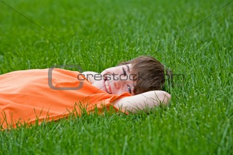 Boy Lying in the Grass