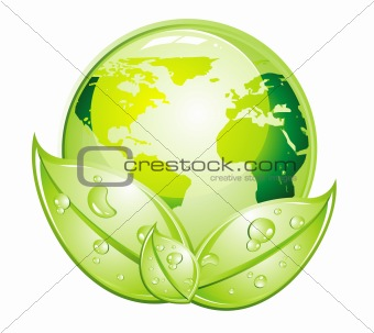 Green Glossy World Icon