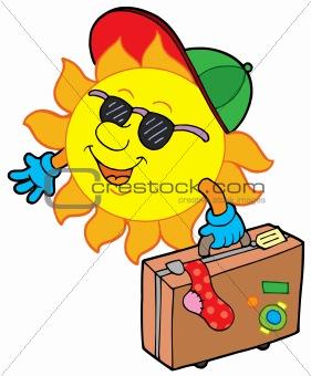 Cartoon sun traveller