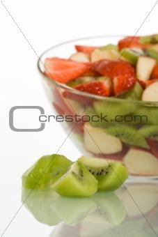 Kiwi slices and fruit salad