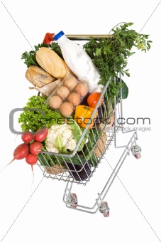 Healthy food in shopping cart