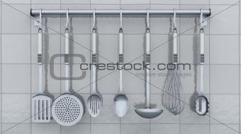 kitchen utensils on a rack