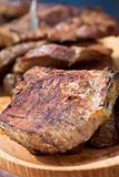 Grilled or barbecued pork meat stakes