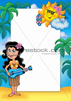 Frame with Hawaiian girl