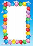 Party invitation frame with balloons