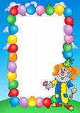 Party invitation frame with clown 1