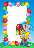 Party invitation frame with clown 5