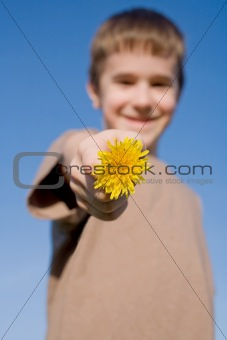 Boy Holding a Dandelion with Big Smile