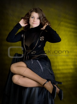 Beauty girl in black