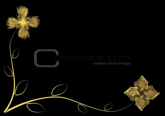 black floral card